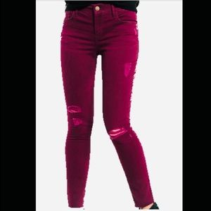 EXPRESS Ankle Legging Mid-Rise Berry Ripped Skinny